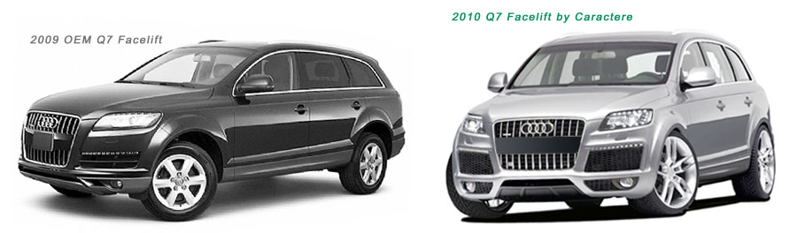 Image comparison of facelifed OEM Audi Q7 and Audi Q7 body kit styling modifications by Caractere